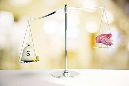 science symbols metaphors: Cash sack on silver scales outweighing abstract polygonal brain on blurry background. 3D Rendering Stock Photo
