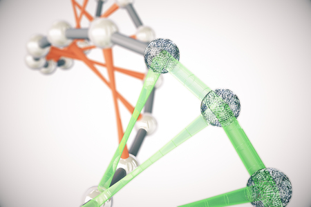 Abstract red and green DNA molecules on light background. 3D Rendering