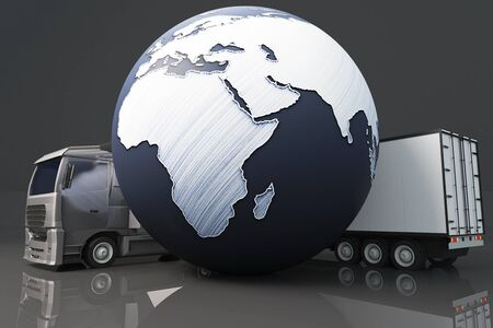 terrestrial: Closeup of truck with trailer and abstract terrestrial globe on dark background. International shipping concept. 3D Rendering Stock Photo