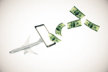 plane tickets: Abstract airplane and dollar bills flying out of cellular phone screen on light background.3D Rendering. Online payment for plane tickets concept Stock Photo