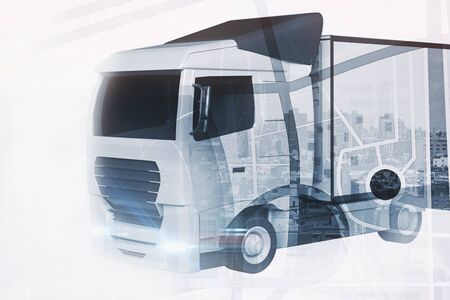 double exposure: Big truck on abstract city background. Transportration concept Stock Photo
