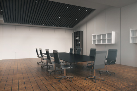 conference table: Side view of conference table in office interior with wooden floor, concrete wall, bookshelves and other equipment. 3D Rendering
