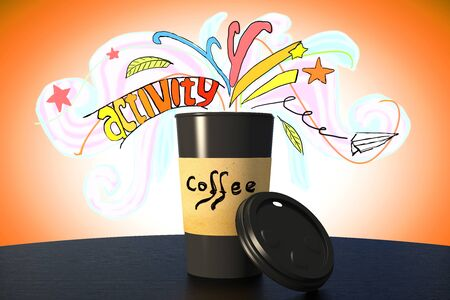 energized: Take away coffee cup with lid and abstract colorful activity sketch. 3D Render Stock Photo