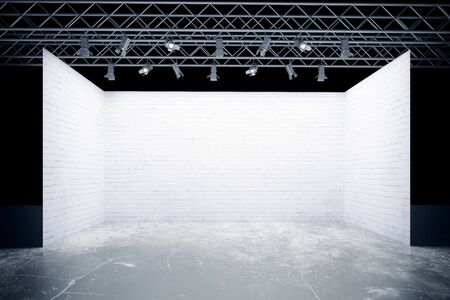 Empty white brick stage with lamps, truss system. Mock up, 3D Rendering