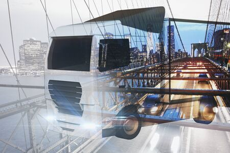 big truck: Big truck on abstract city background. Cargo transportration concept