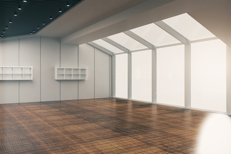 empty office: Side view of modern empty office interior with wooden floor, patterned ceiling, walls and panoramic windows with no view. 3D Rendering