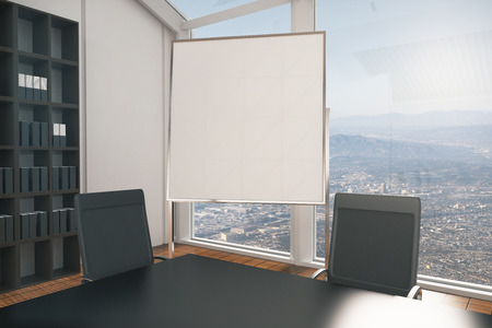 conference room: Closeup of empty whiteboard stand in conference room interior with city view. Mock up, 3D Rendering