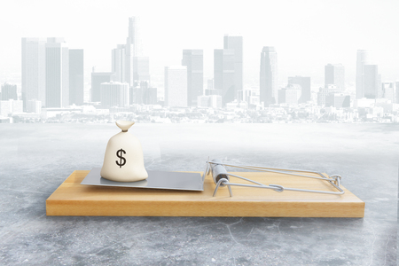 Mousetrap with money sack on grey city background. Risk concept. 3D Rendering Stock Photo