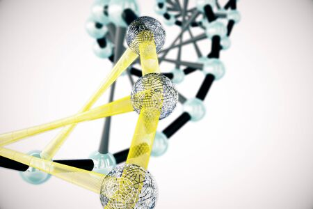 Abstract black and yellow DNA structure on light background. 3D Rendering
