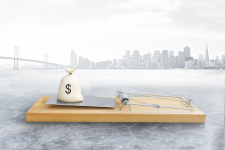 money sack: Mousetrap with money sack on city background. Risk concept. 3D Rendering