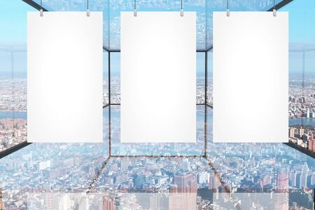 suspended: Three blank banners hanging in abstract transparent glass room with city view. Mock up, 3D Rendering