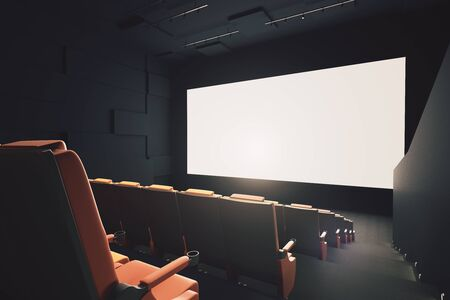 side viewing: Side view of movie theater interior with rows of seats and empty white screen. Mock up, 3D Rendering