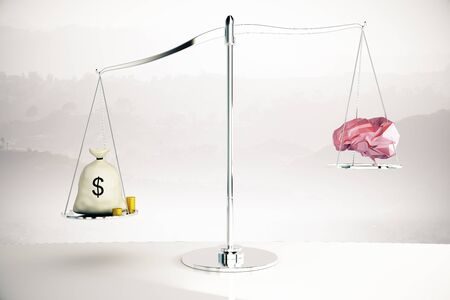 misty: Cash sack on silver scales outweighing abstract polygonal brain on misty background. 3D Rendering Stock Photo