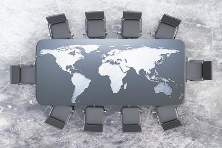 Bovenaanzicht van de vergadertafel met kaart op concrete achtergrond. 3D-rendering. International business concept Stockfoto