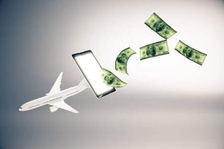 plane tickets: Abstract airplane and dollar bills flying out of cellphone screen on grey background.3D Rendering. Online payment for plane tickets concept Stock Photo