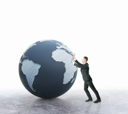 globe  the terrestrial ball: Businessman pushing abstract terrestrial globe on light background. Global business concept. 3D Rendering Stock Photo