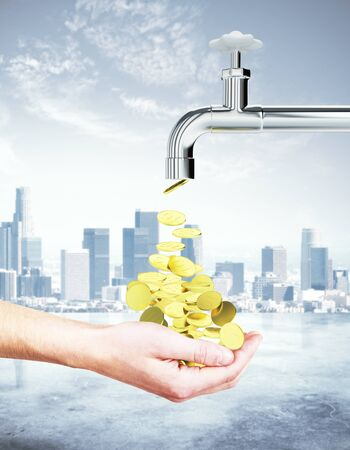 Male hand collecting golden coins coming out of tap on city background. Financial growth concept. 3D Rendering