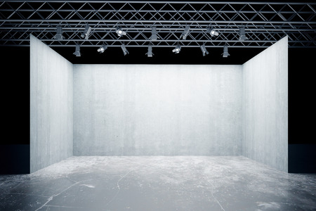 truss: Empty concrete stage with lamps, truss system. Mock up, 3D Rendering Stock Photo