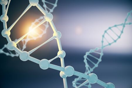 Closeup of DNA molecule structure on abstract dark blue background with abstract light. 3D Rendering Stock Photo