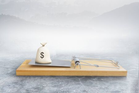 money sack: Mousetrap with money sack on abstract background. Risk concept. 3D Rendering Stock Photo