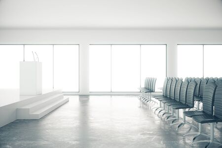 lecture hall: Conference room interior with seats on concrete floor and speakers poduim. 3D Rendering