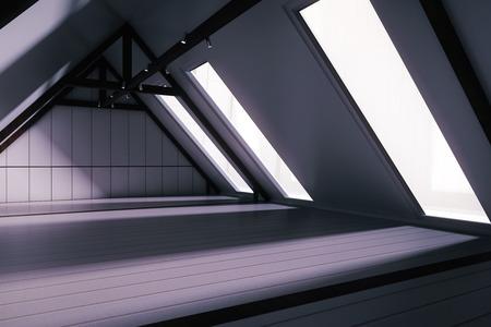 Zijaanzicht van creatieve loft interieur met witte plank vloer, muren, donkere houten rand en ramen zonder uitzicht 's nachts. 3D Rendering Stockfoto