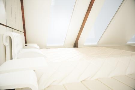loft: Side view of bright loft bedroom interior. 3D Rendering Stock Photo