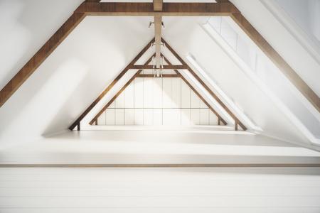 Vooraanzicht van creatieve loft interieur met witte plank muren, houten bruine randen en ramen met geen uitzicht. 3D Rendering Stockfoto