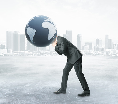 sphere standing: Businessman with terrestrial globe instead of head on abstract city background. 3D Rendering. Global business concept