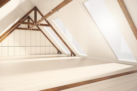 Zijaanzicht van creatieve loft interieur met witte plank muren, houten bruine randen en ramen met geen uitzicht. 3D Rendering