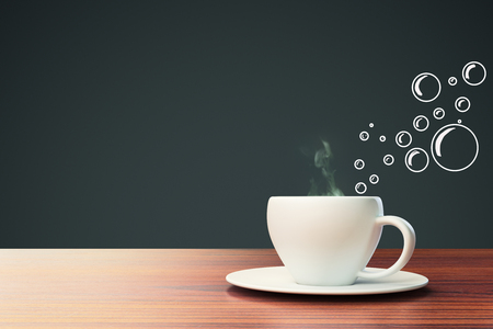 Ceramic coffee cup with abstract bubble drawings on dark grey background with copy space. 3D Rendering