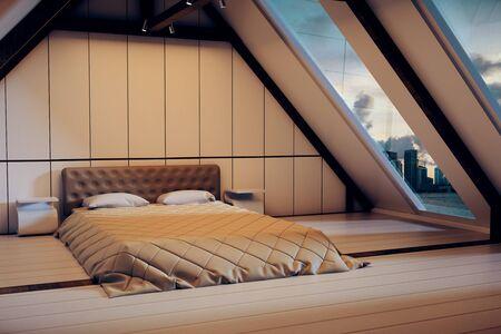 Loft slaapkamer interieur met meubels en ramen met uitzicht op de stad in de schemering. 3D Rendering Stockfoto