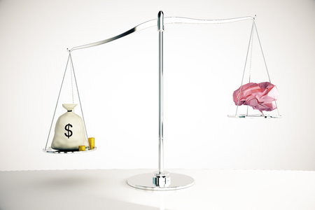science symbols metaphors: Cash sack on silver scales outweighing abstract polygonal brain on light background. 3D Rendering