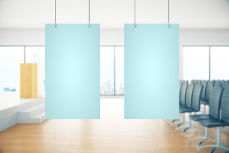 conference room: Two empty light blue suspended posters in conference room interior. Mock up, 3D Rendering