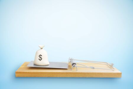 money sack: Mousetrap with money sack on blue background. Risk concept. 3D Rendering
