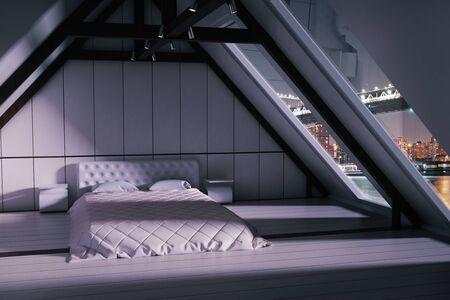 Loft slaapkamer interieur met meubels en ramen met uitzicht op de stad 's nachts. 3D Rendering