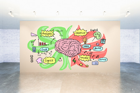analytical: Creative sketch on human brains left and right sides depicting analytical and creative traits on light wall in interior. 3D Rendering