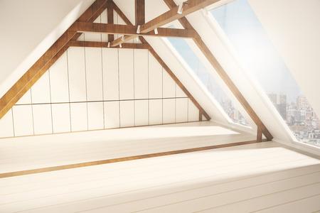 Zijaanzicht van creatieve loft interieur met witte plank muren, houten bruine randen en ramen met uitzicht op de stad. 3D Rendering