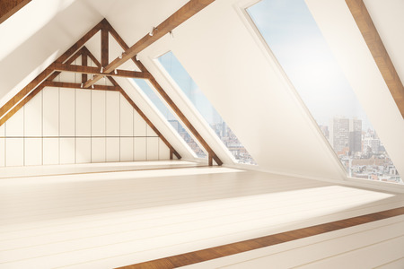 loft interior: Side view of creative loft interior with white plank walls, wooden brown edging and windows with city view. 3D Rendering