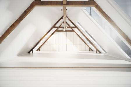 Vooraanzicht van creatieve loft interieur met witte plank muren, houten bruine randen en ramen met uitzicht op de stad. 3D Rendering