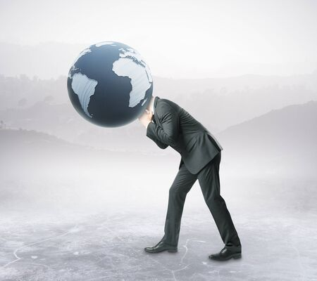 Businessman with terrestrial globe instead of head on abstract background. 3D Rendering. Global business concept