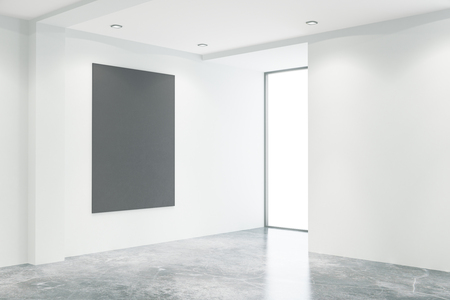 blank chalkboard: Empty concrete office interior with blank chalkboard and window with no view. Mock up, 3D Rendering