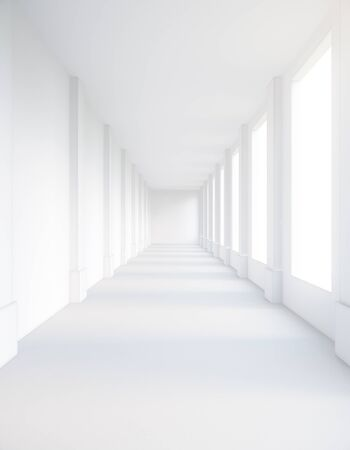 corridor: Empty white corridor interior with daylight. 3D Rendering