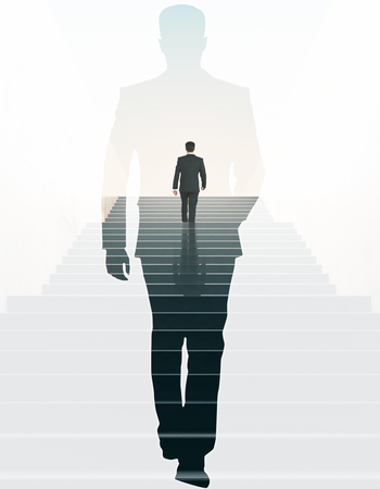 Back view of businessman climbing stairs and walking male silhouette on light background. Success concept. Double exposure Stockfoto