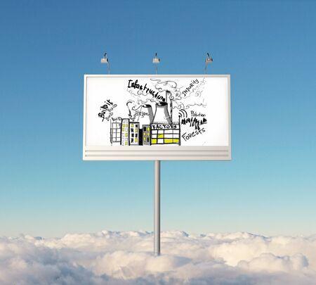 impurity: Huge billboard with creative infrastructure sketch in bright sky above clouds. 3D Rendering