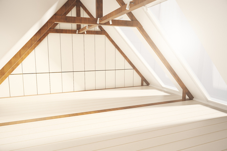 loft interior: Side view of creative loft interior design with white plank walls, wooden brown edging and windows with no view. 3D Rendering Stock Photo