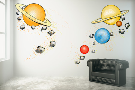 leather armchair: Room interior with abstract planets drawing on concrete wall, black leather armchair and window with daylight. Imagination concept. 3D Rendering Stock Photo