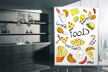kitchen poster: Dark kitchen interior with creative food sketch on poster and city view. 3D Rendering Stock Photo