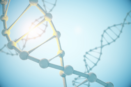 replication: Closeup of DNA molecule structure on abstract blue background. 3D Rendering