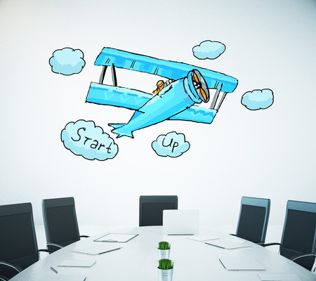 small room: Conference room with creative small plane sketch on white wall background. Start up concept. 3D Rendering Stock Photo